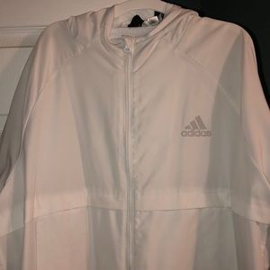 White adidas zip up jacket men's large